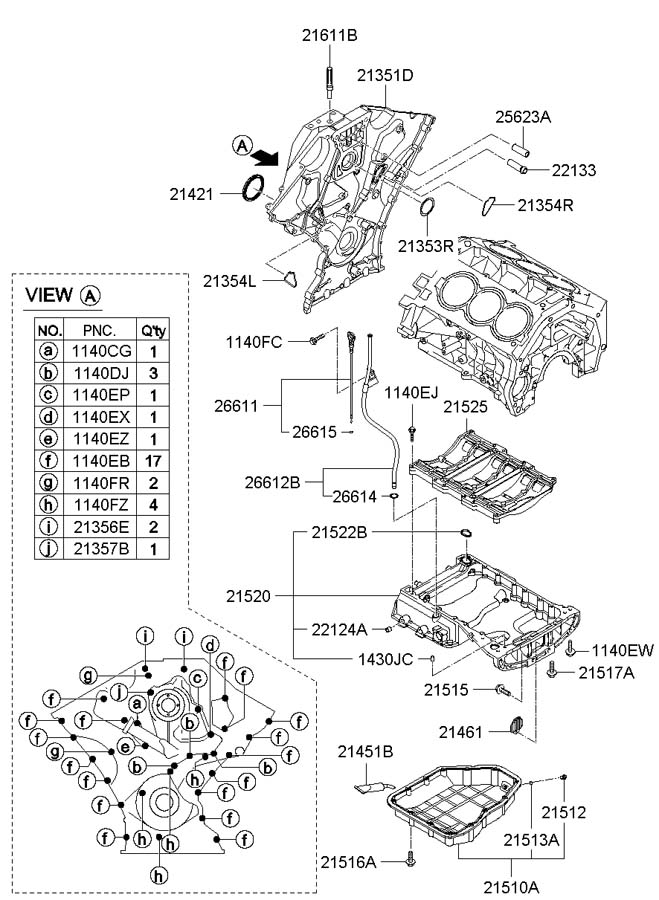 2007 Hyundai Santa Fe Pan Assembly