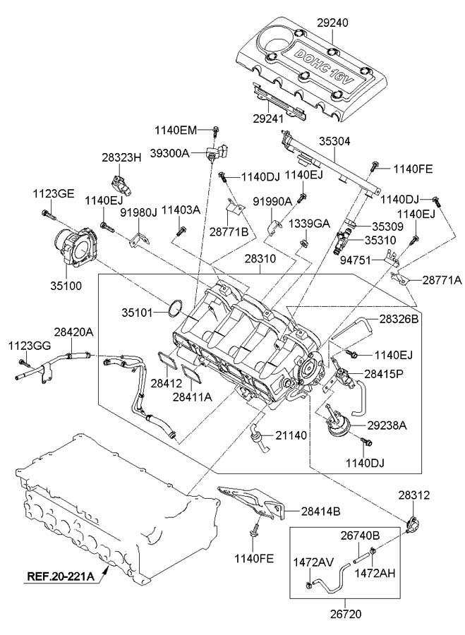Diagram INTAKE MANIFOLD (2.4L-THETA2) for your 2009 Hyundai