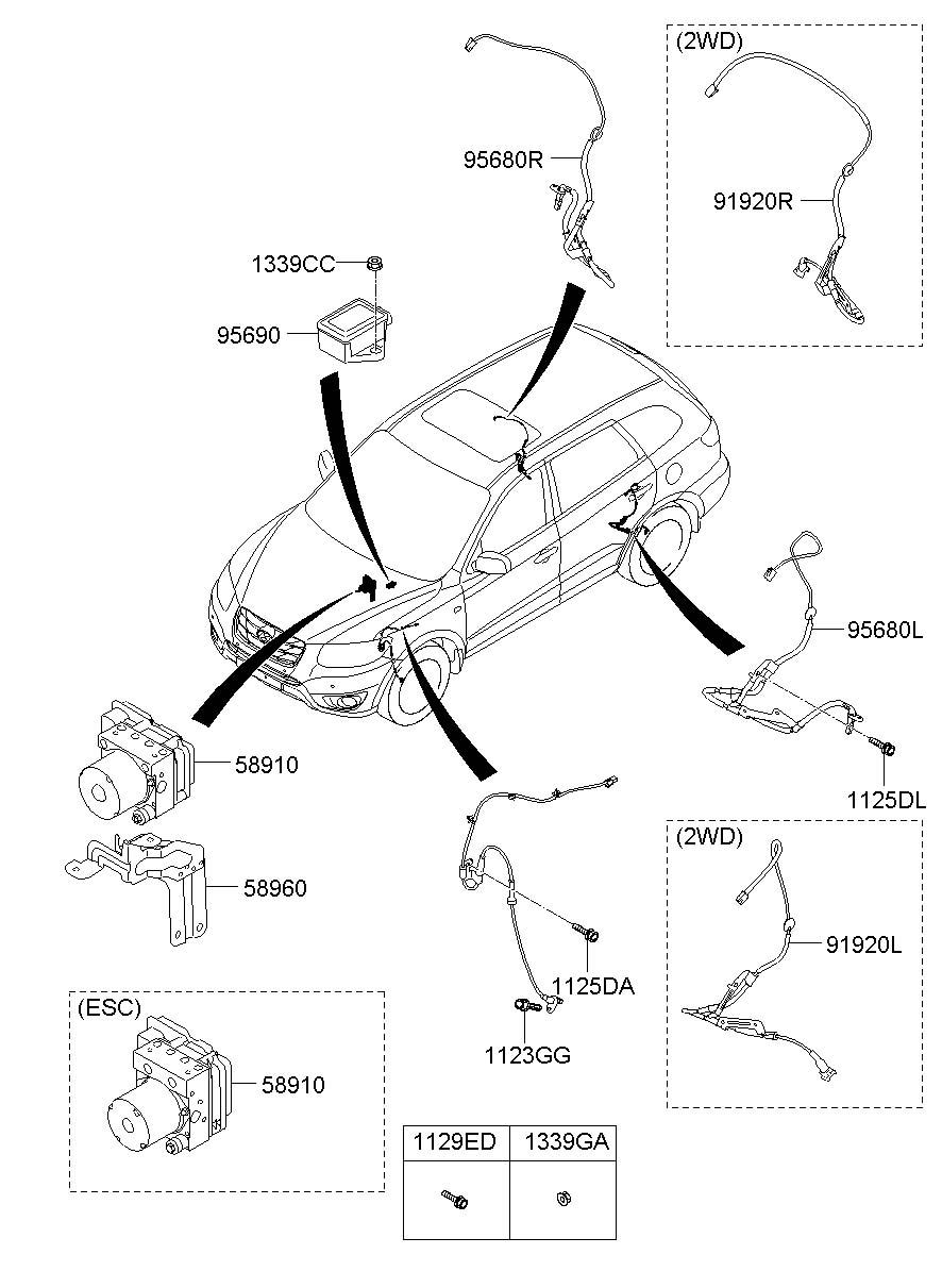 956802b000 Hyundai Sensor Assembly Anti Lock Brakes