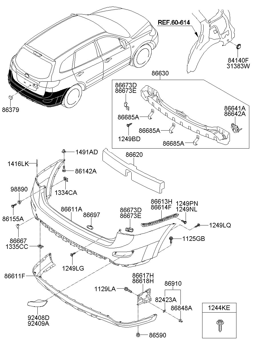 hyundai elantra front bumper parts diagram
