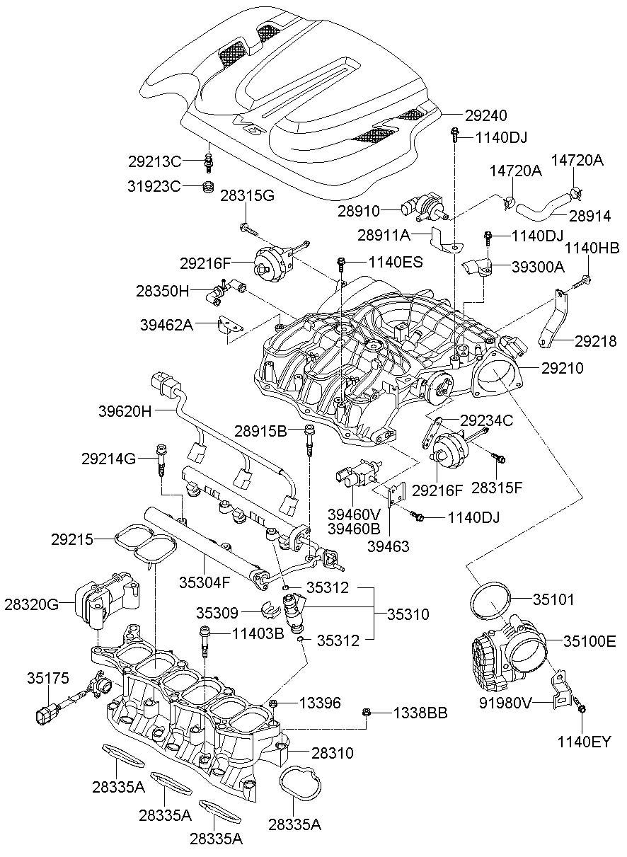 2011 Hyundai Santa Fe Manifold Assembly - Intake