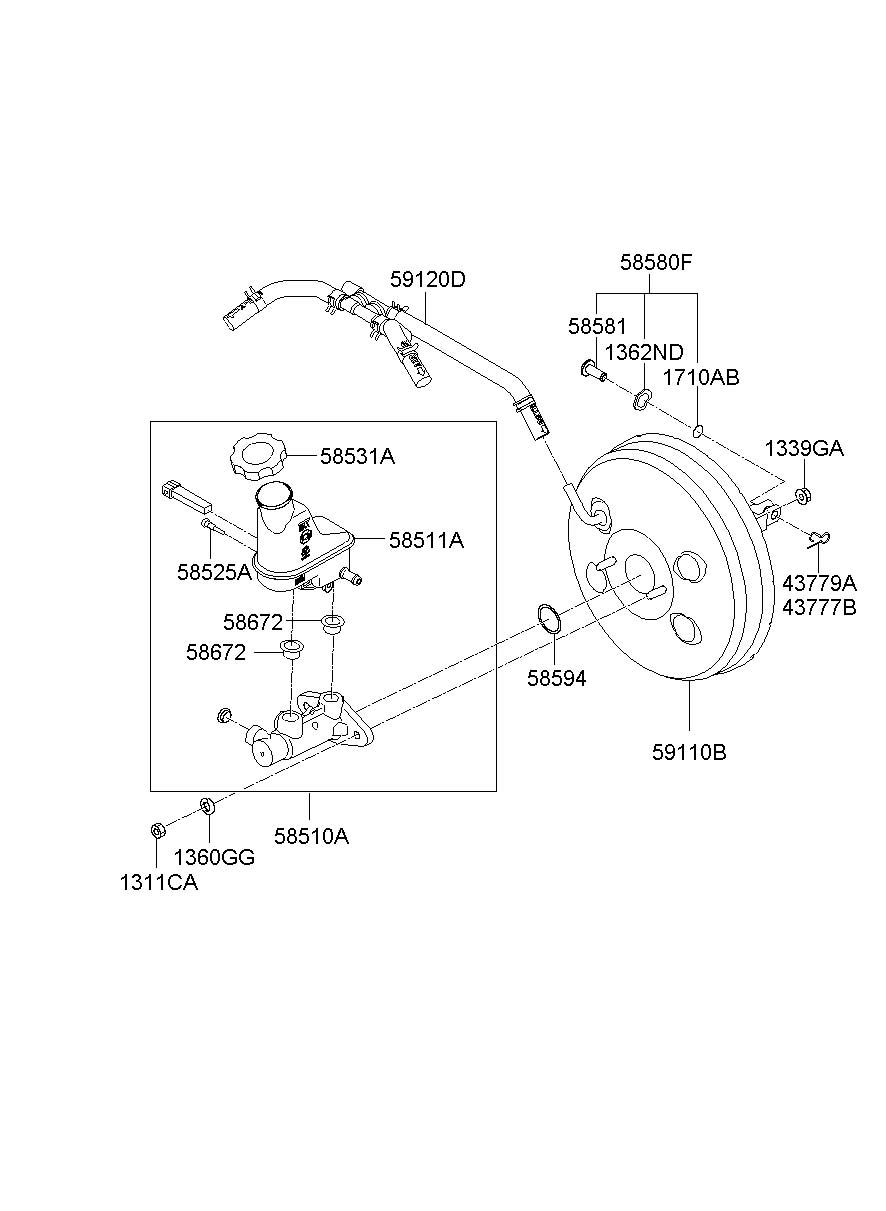 hyundai santa fe cylinder assembly - brake master  vacuum