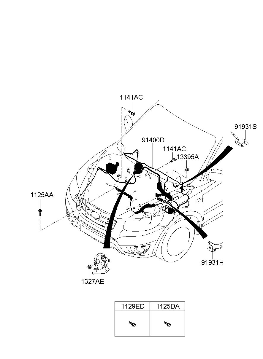 Hyundai Santa Fe Wiring assembly - control - 914060W030 ...
