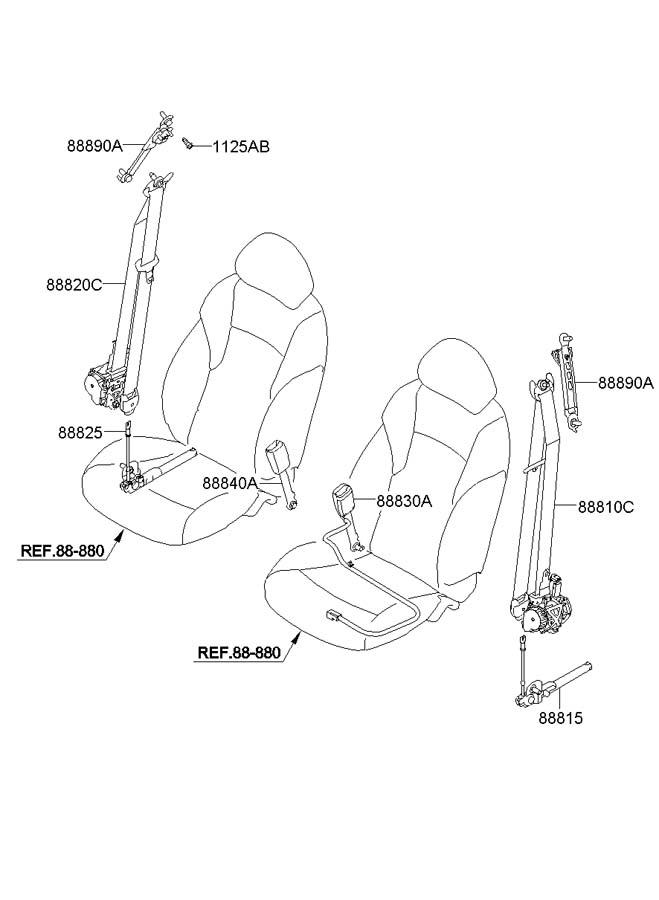 2011 Hyundai Sonata Buckle Assembly