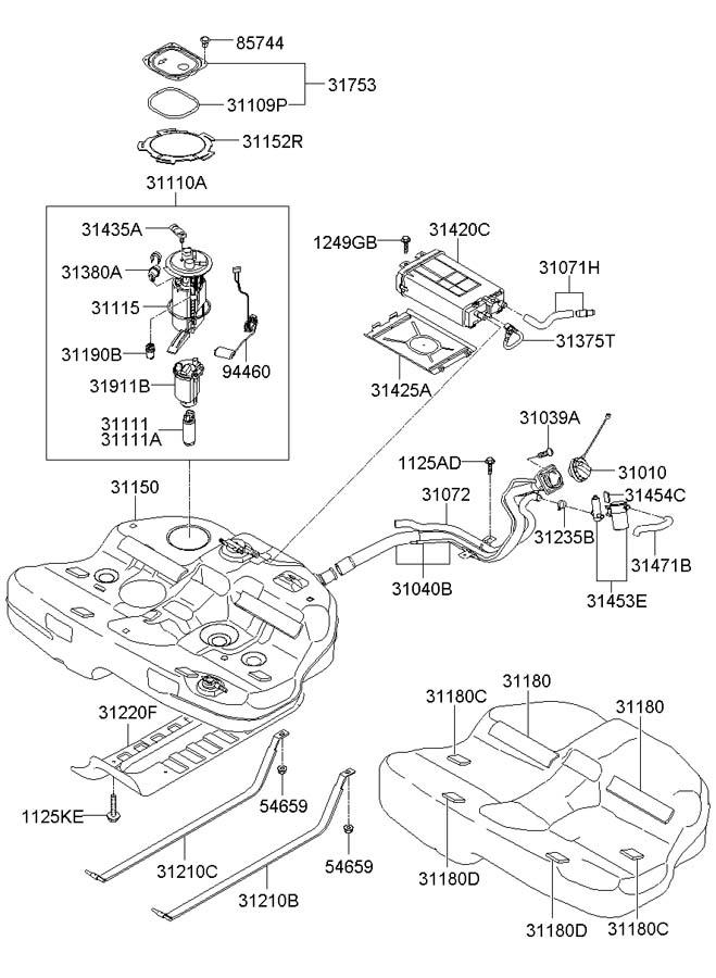 2009 Hyundai Sonata Filter  U0026 Canister Valve Assembly