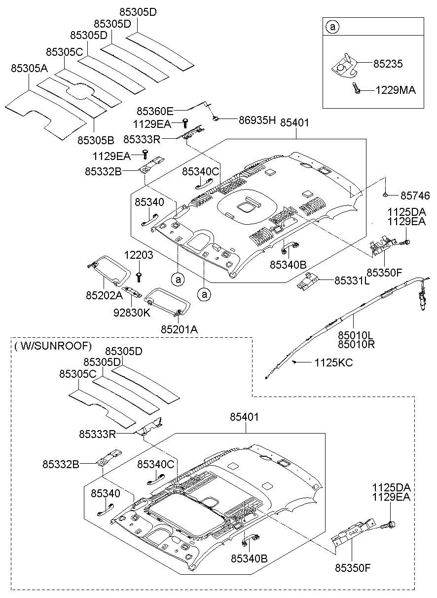 2006 Hyundai Santa Fe Headlining Assembly  Mrrvanityill