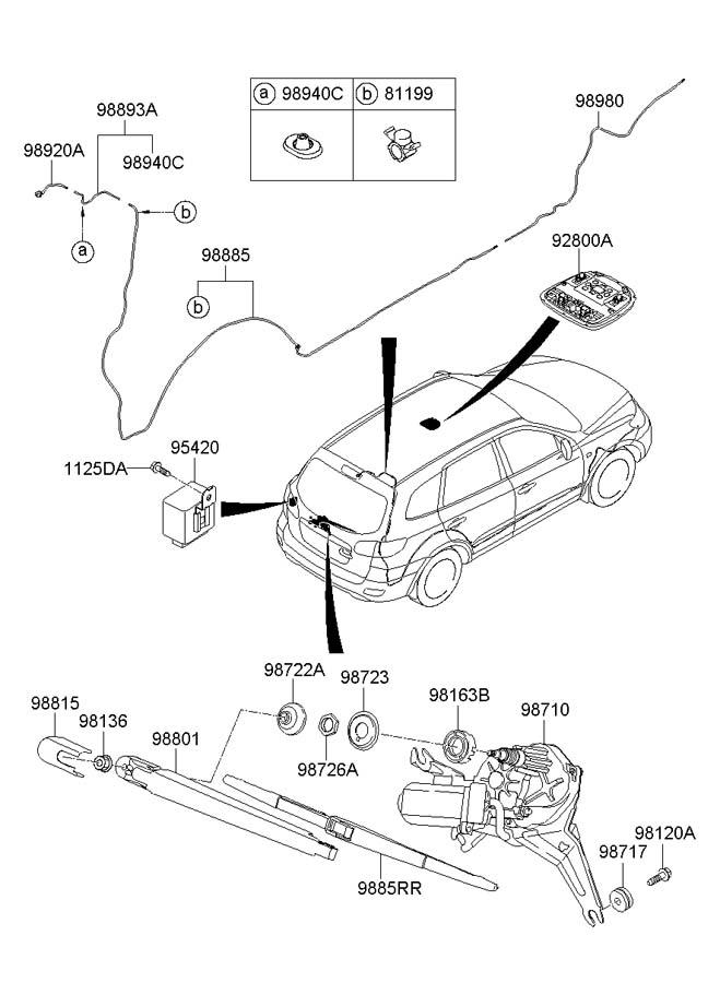 Hyundai Santa Fe Arm Assembly Rear   Rear  Rr    Wiper