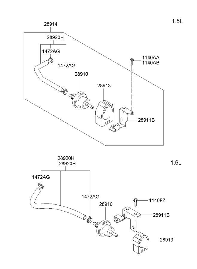 hyundai accent clip - hose  vapor  systemsohc