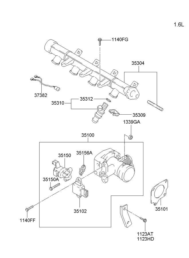 2002 hyundai accent throttle body  u0026 injector
