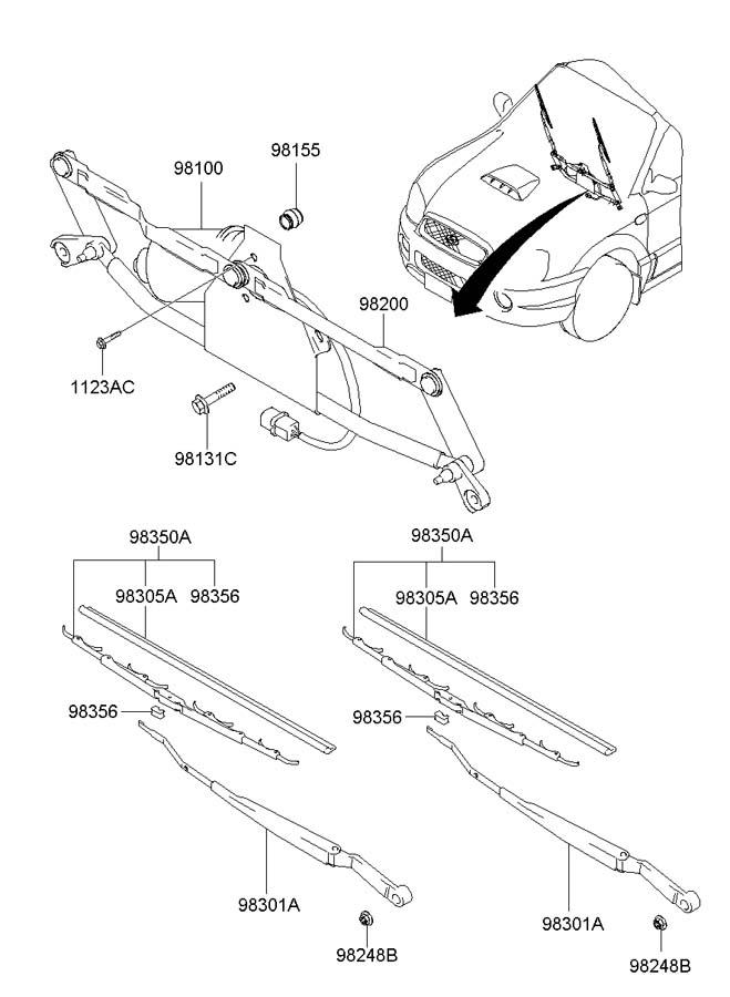 hyundai santa fe wiper arm parts diagram  hyundai  auto