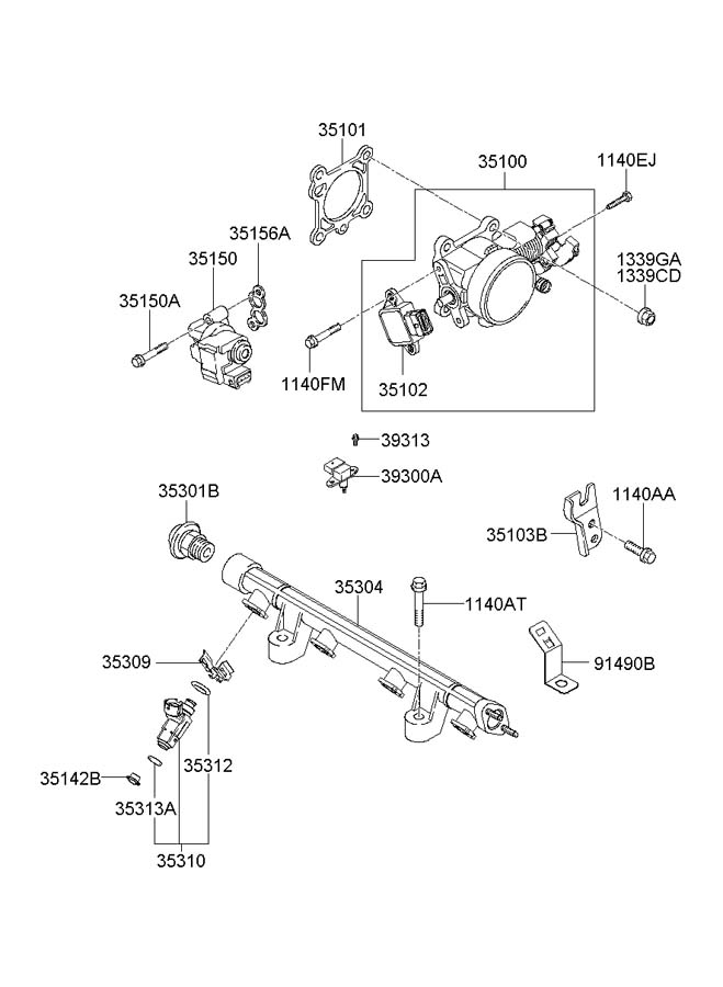 Diagram THROTTLE BODY & INJECTOR for your 2001 Hyundai