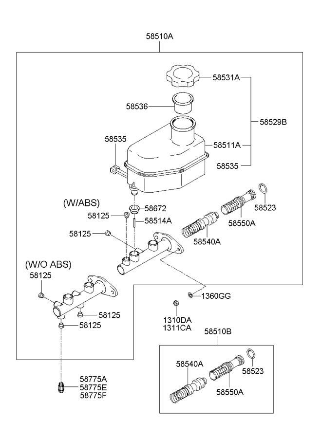 service manual  2005 hyundai elantra diagram showing brake
