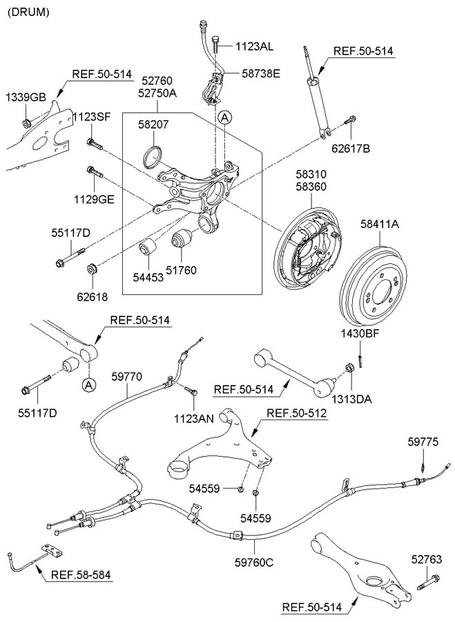 REAR AXLE & BRAKE ASSY