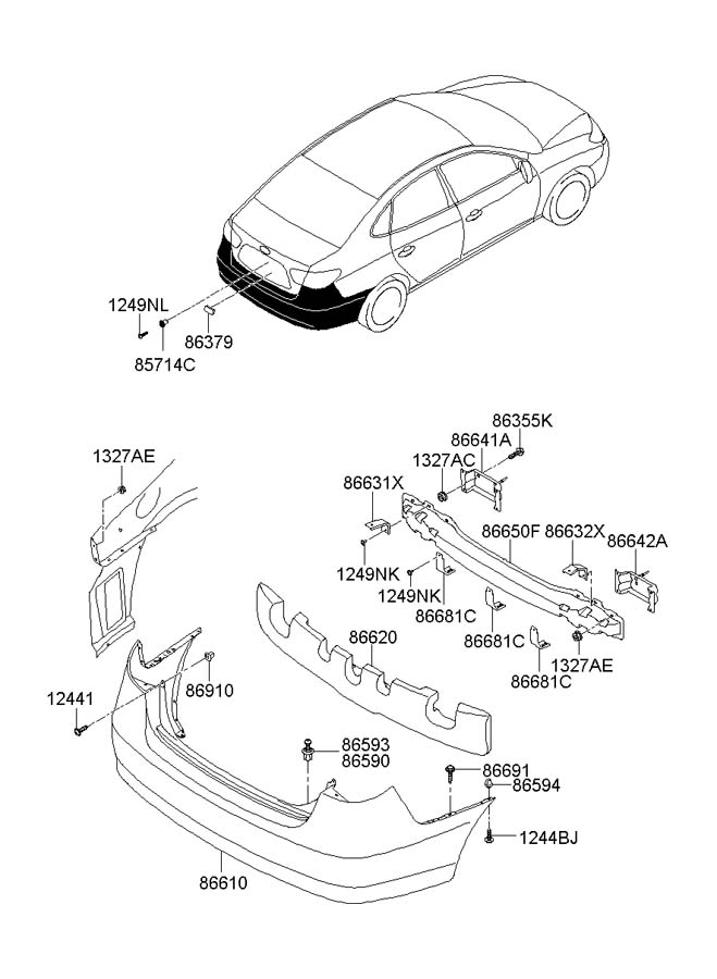 866992D000     Hyundai    Retainer  bumper side mounting