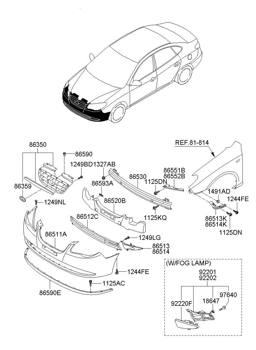Hyundai Elantra Bracket - Front Bumper Side Left   Left Hand    Frontont