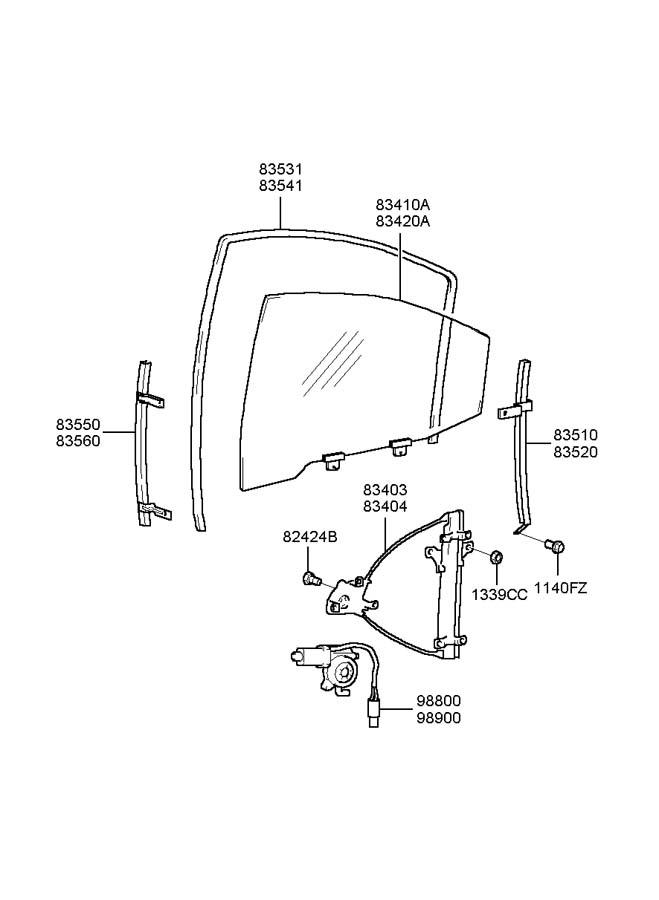 2005 Hyundai Sonata Rear Door Window Regulator Amp Glass