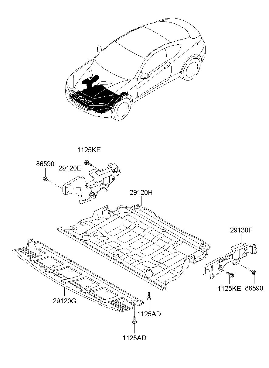 Hyundai Genesis Coupe Cover assembly - engine under ...