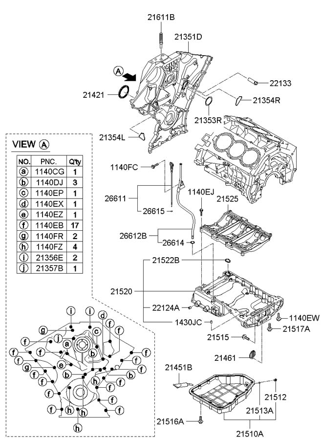 2007 Hyundai Entourage Engine Timing Cover Gasket  Right