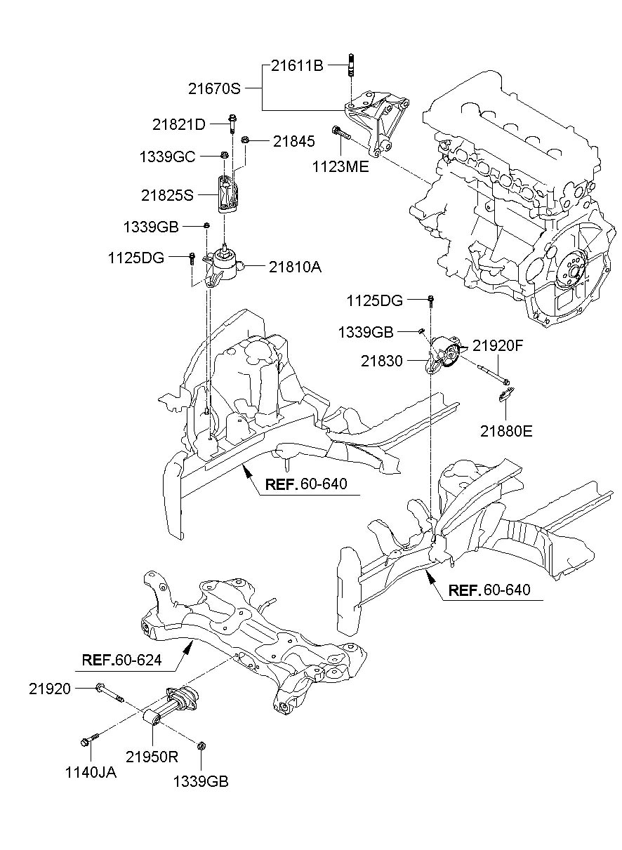 2012 hyundai veloster bracket assembly - engine mounting