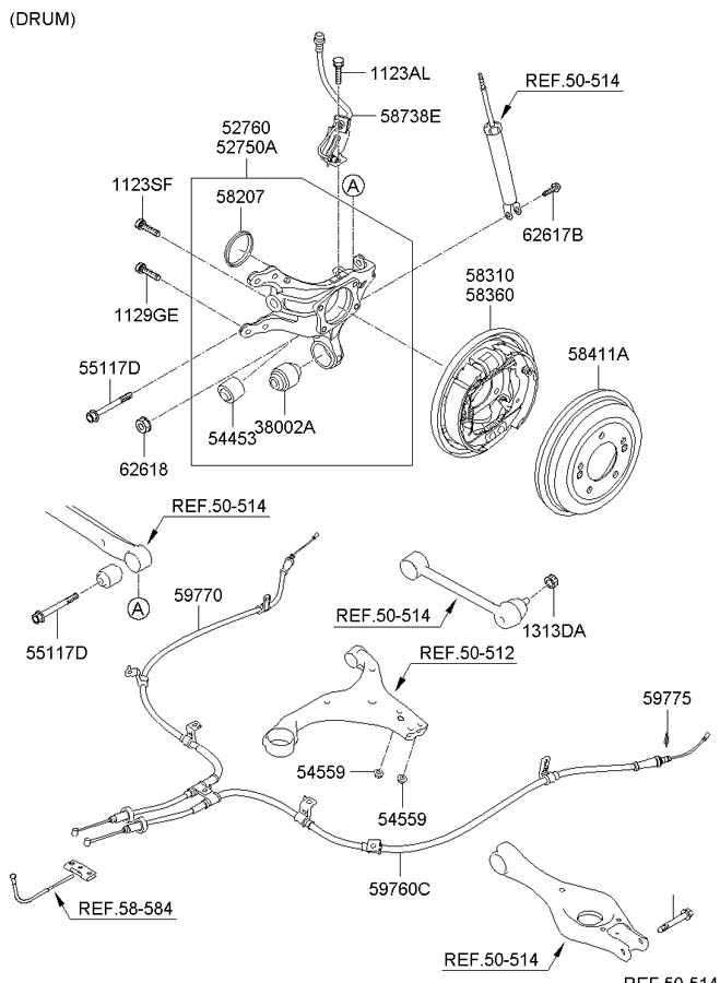 2006 Hyundai Elantra Diagram Showing Brake Line on 2005 cadillac deville air conditioning
