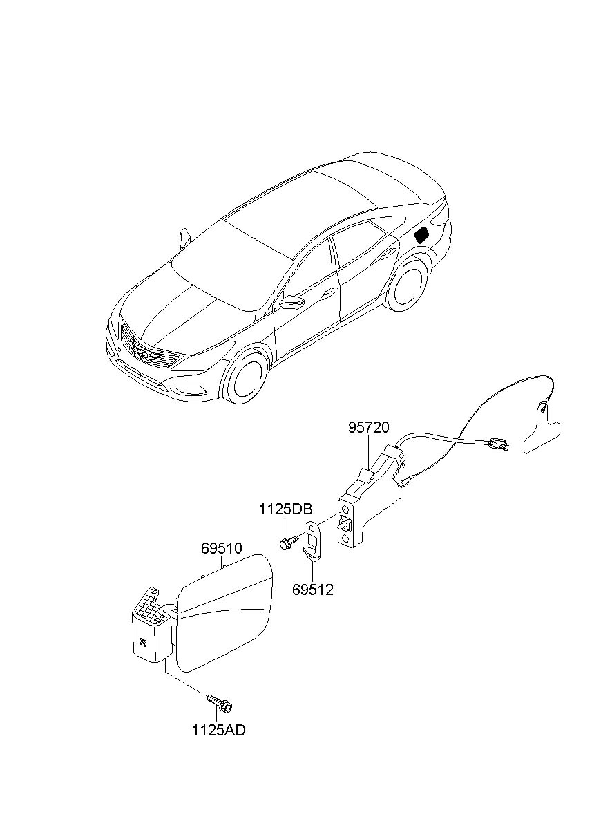 Hyundai Azera Door Assembly Fuel Filler 695103v000