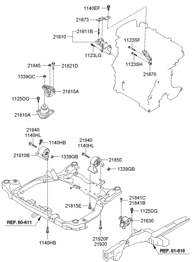 2007 Hyundai Elantra Bracket Assembly