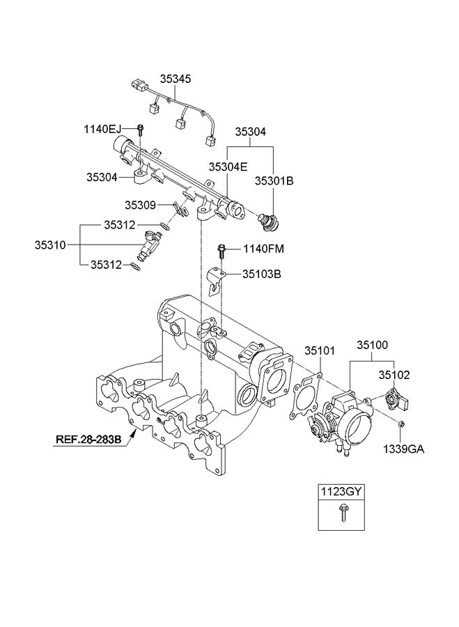 Diagram THROTTLE BODY & INJECTOR for your 2009 Hyundai