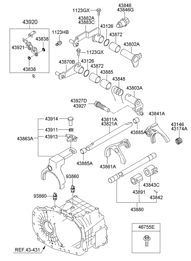 4388339300 - Hyundai Lever Assembly