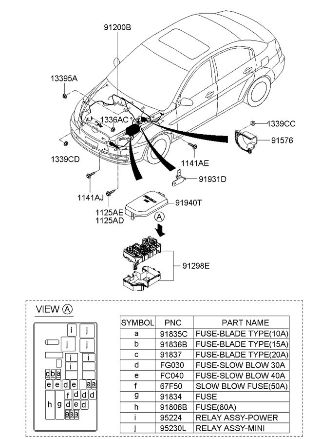 Hyundai Accent Wiring Assembly - Front