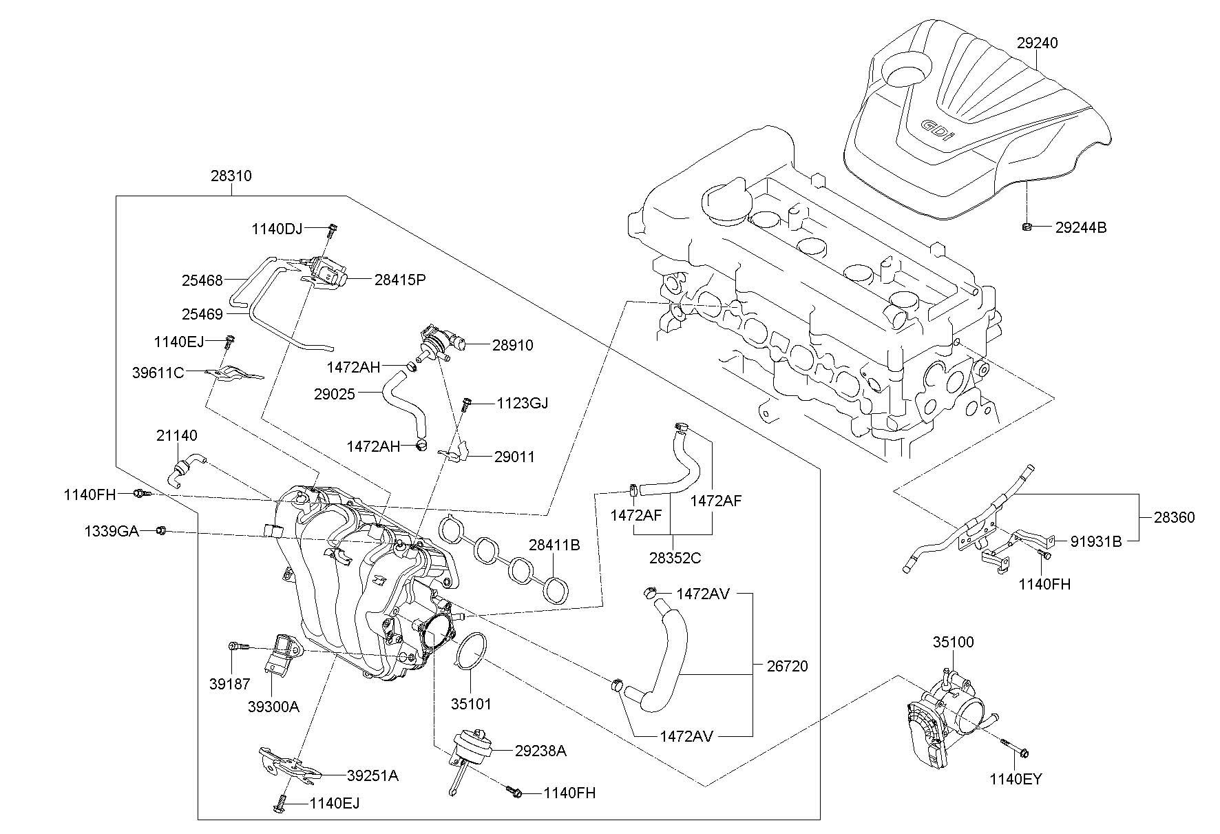 290212b040 - Hyundai Hose Assembly