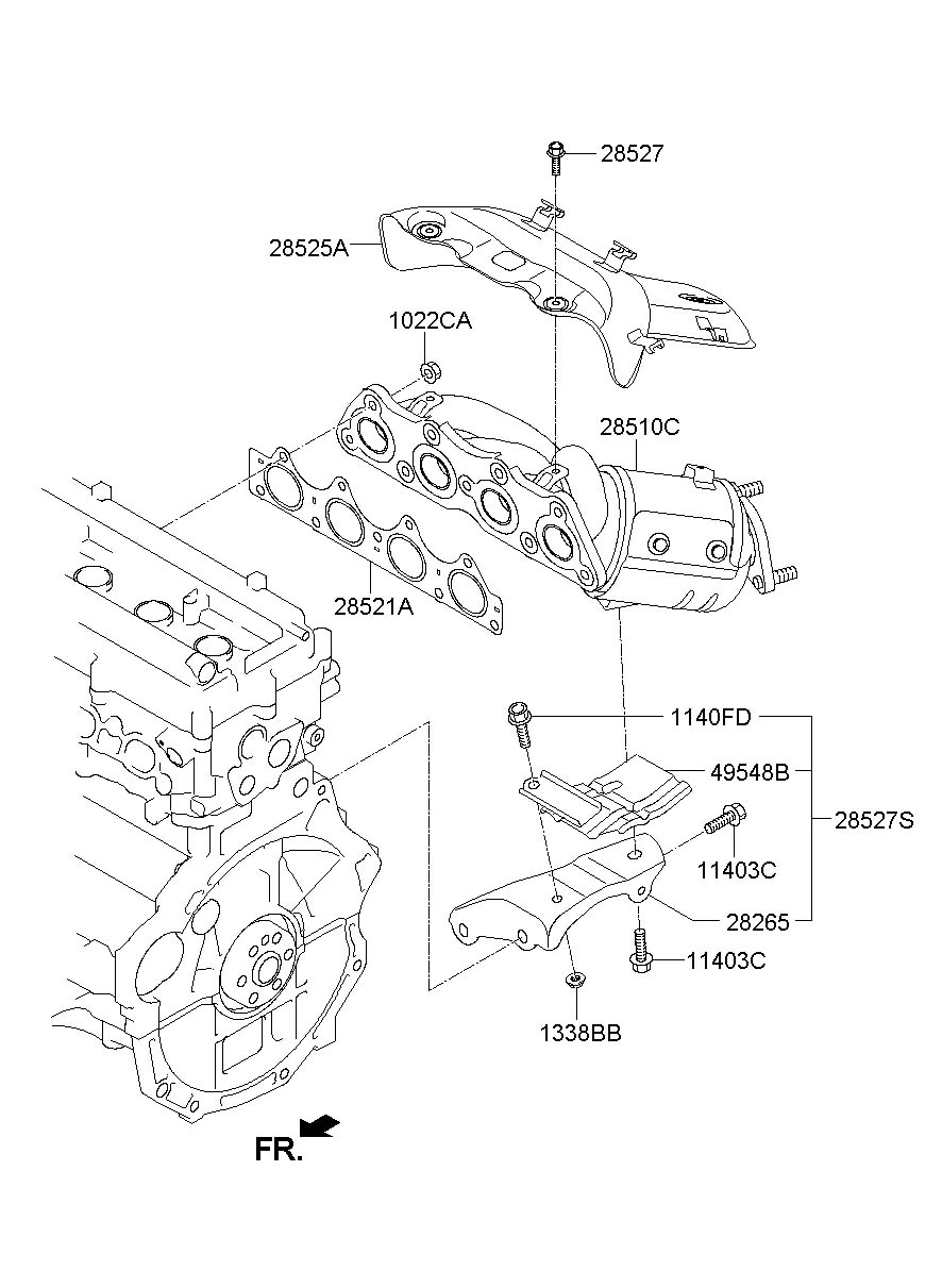 285102bef1 - Hyundai Manifold Catalytic Assembly