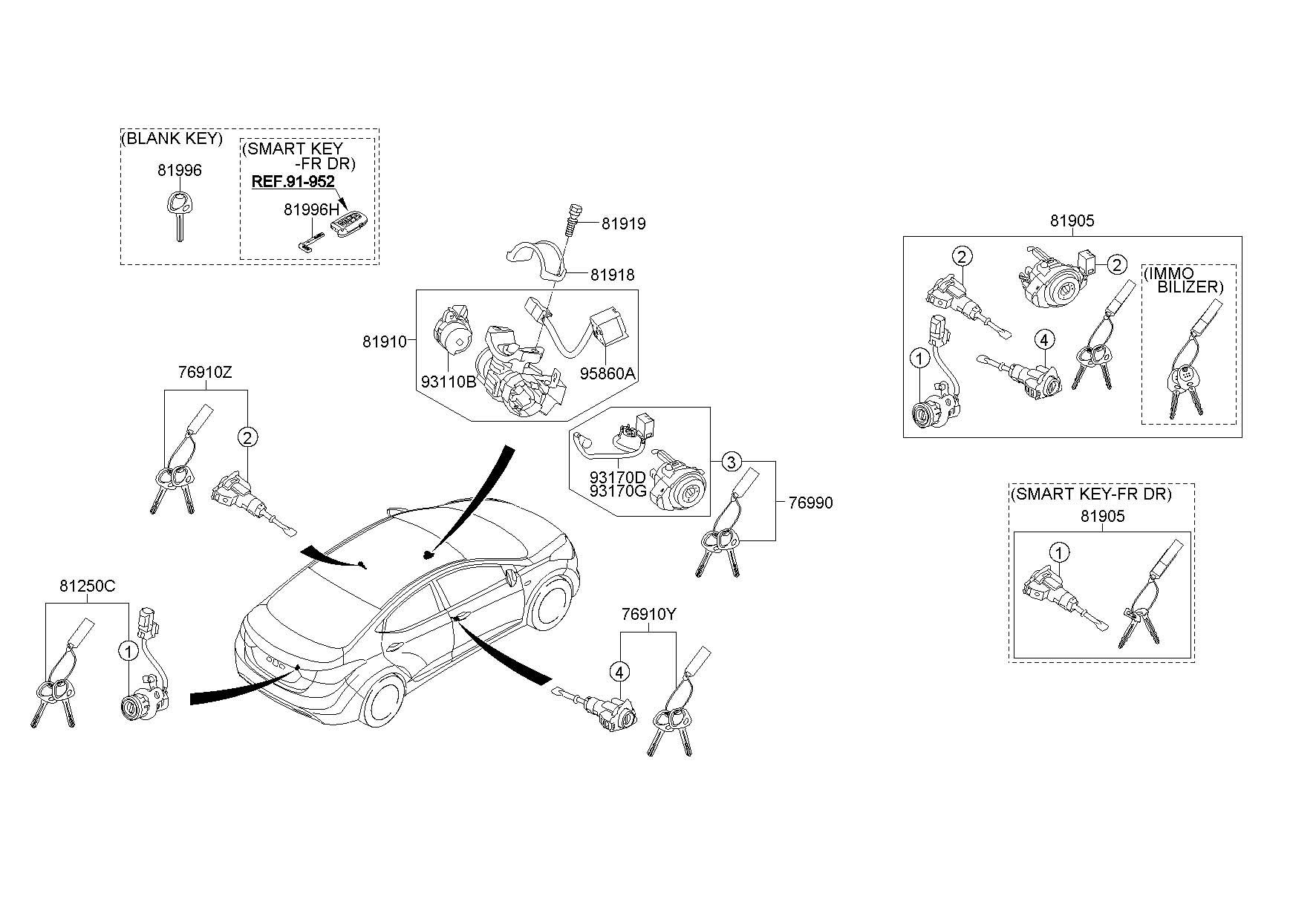 2013 Hyundai Elantra Body  U0026 Switch Assembly