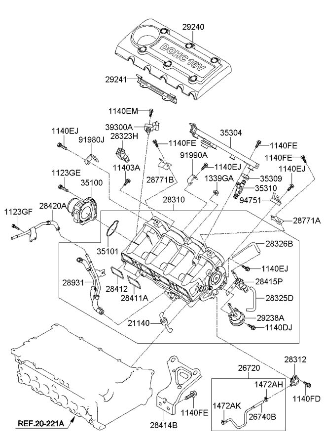 Diagram INTAKE MANIFOLD (2.0L-THETA2) for your 2009 Hyundai