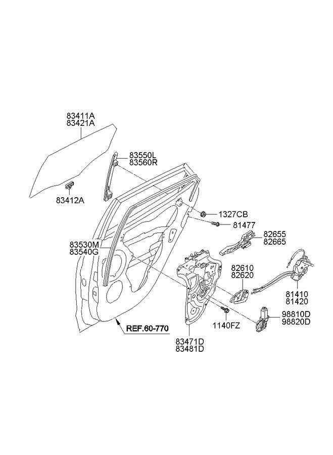 2012 Hyundai Tucson Cable Assembly Rear Rear Rr Door